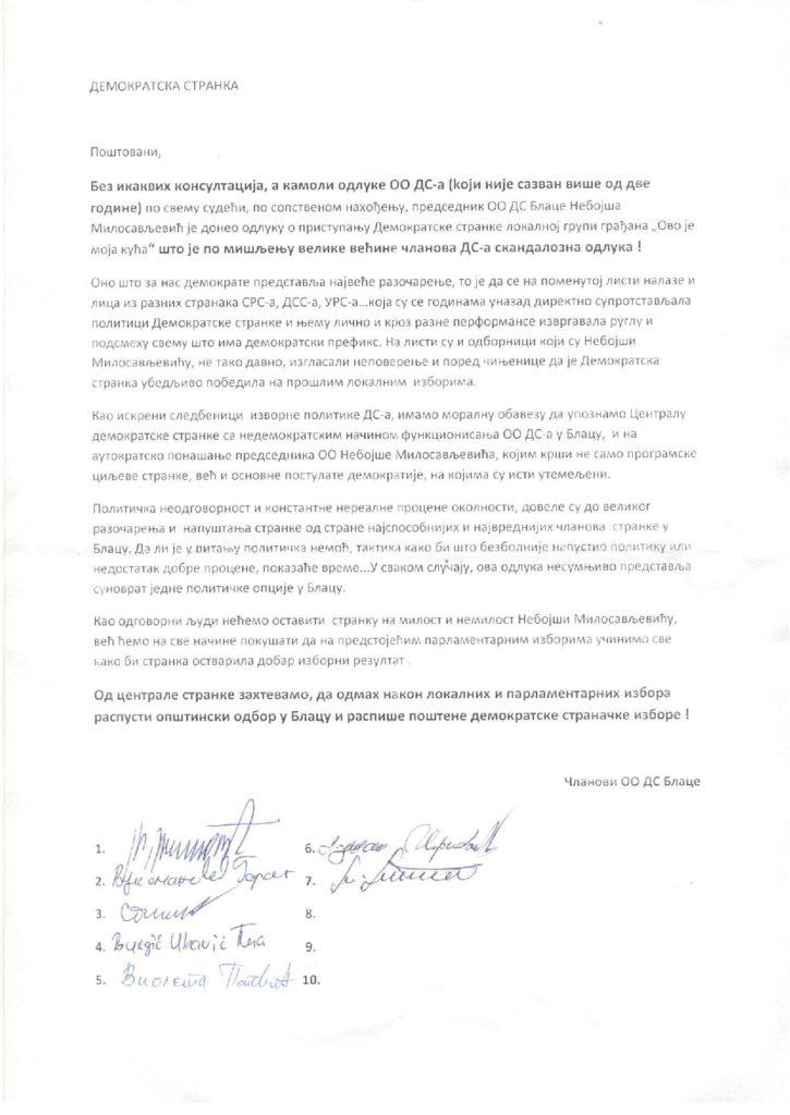 saopstenje sa potpisima